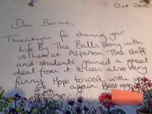 Balls feedback letter